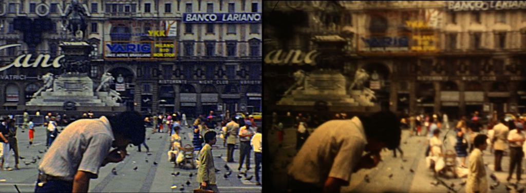 Differenze di qualità tra diversi telecinema relative all'acquisizione di un film super 8 girato a Milano