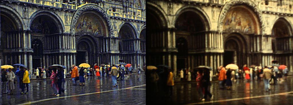 Fotogrammi tratti da due lavori di telecinema su un filmato super 8